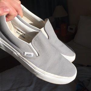 Vans Shoes   Grey Slip On Vans   Poshmark